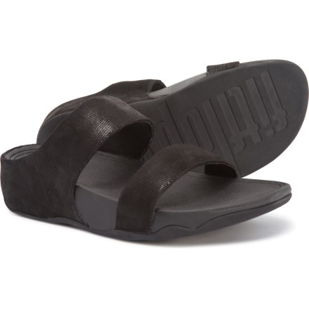 1a2ed7e3f FitFlop Lulu Shimmer Check Slide Sandals - Leather (For Women) in Black