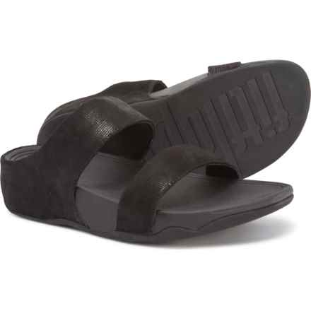 f1bcc21cf FitFlop Lulu Shimmer Check Slide Sandals - Leather (For Women) in Black