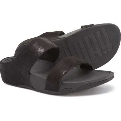 c9793a89f FitFlop Lulu Shimmer Check Slide Sandals - Leather (For Women) in Black