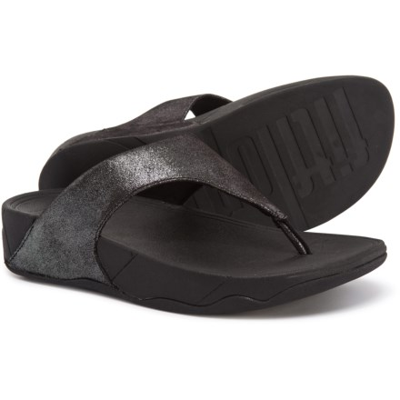 22497877e4655b FitFlop Lulu Shimmersuede Flip-Flops (For Women) in Black