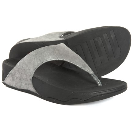 d6cbb24075ed59 FitFlop Lulu Shimmersuede Flip-Flops - Leather (For Women) in Pewter