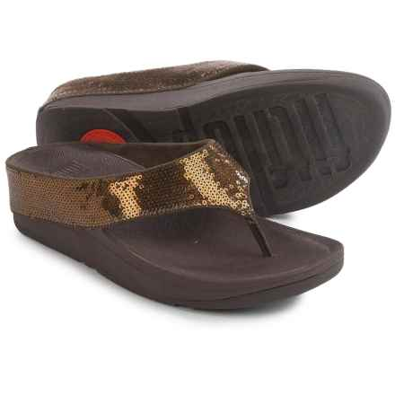 FitFlop Ringer Sequin Toe-Post Sandals (For Women) in Bronze - Closeouts