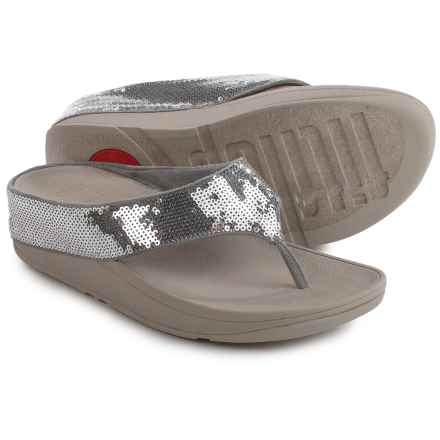 FitFlop Ringer Sequin Toe-Post Sandals (For Women) in Silver - Closeouts