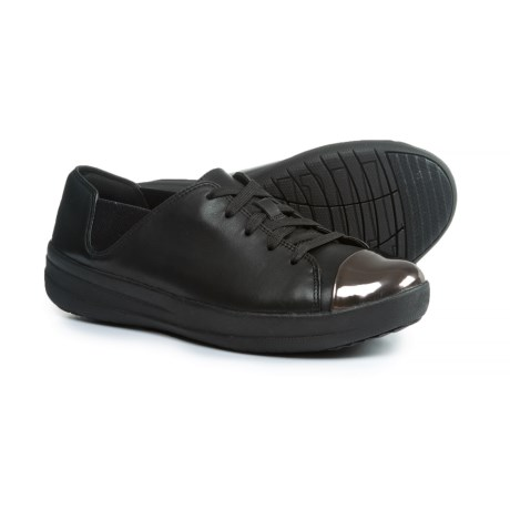 FitFlop Sporty Mirror-Toe Leather Sneakers (For Women) in Black