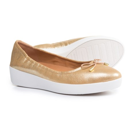FitFlop Superbendy Ballerina Leather Shoes (For Women) in Metallic Gold