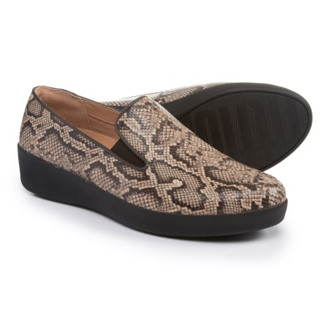 FitFlop Superskate Leather Shoes - Slip-Ons (For Women) in Taupe Snake
