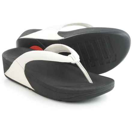 FitFlop Swirl T-Strap Flip-Flops - Leather (For Women) in Urban White - Closeouts