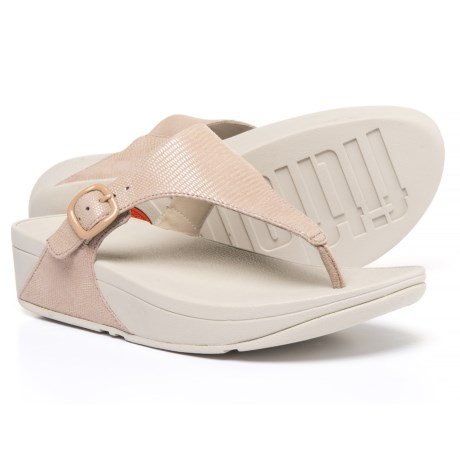 FitFlop The Skinny Lizard Print Sandals - Leather (For Women) in Nude Pink