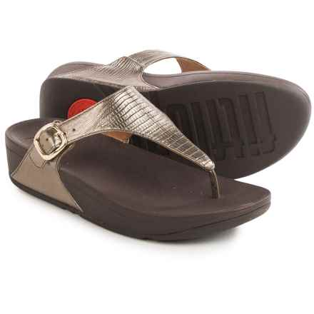 FitFlop The Skinny T-Strap Flip-Flops - Leather (For Women) in Bronze - Closeouts