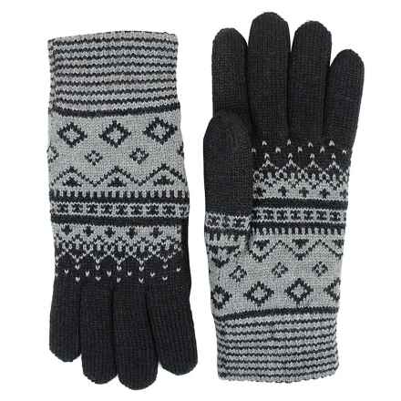 FITS Accessories Argyle Jacquard Knit Gloves - Chenille Lined (For Women) in Black/Grey - Closeouts