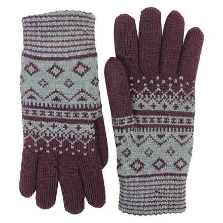 FITS Accessories Argyle Jacquard Knit Gloves - Chenille Lined (For Women) in Wine/Grey - Closeouts