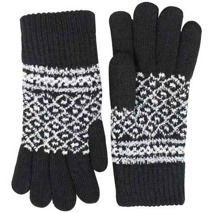 FITS Accessories Knit Peruvian Chenille Gloves (For Women) in Black/White - Closeouts
