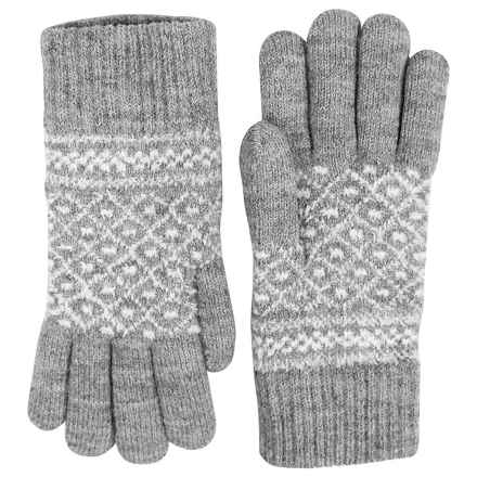FITS Accessories Knit Peruvian Chenille Gloves (For Women) in Grey/White - Closeouts