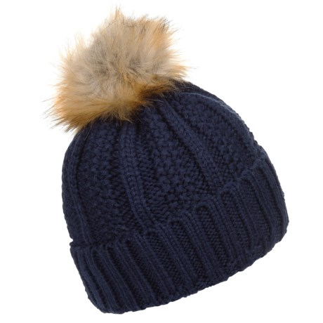 FITS Accessories Knit Pompom Beanie (For Women) in Navy/Fur