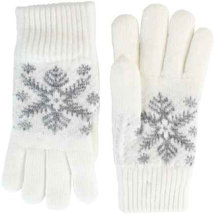FITS Accessories Large Snowflake Jacquard Gloves (For Women) in Ivory/Grey - Closeouts