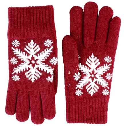 FITS Accessories Large Snowflake Jacquard Gloves (For Women) in Red/White - Closeouts
