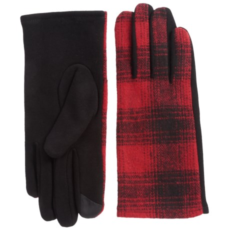 FITS Accessories Plaid Gloves - Touchscreen Compatible, Fleece Lined (For Women) in Black/Red