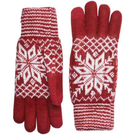 FITS Accessories Snowflake Gloves - Touchscreen Compatible, Chenille Lining (For Women) in Red/White - Closeouts