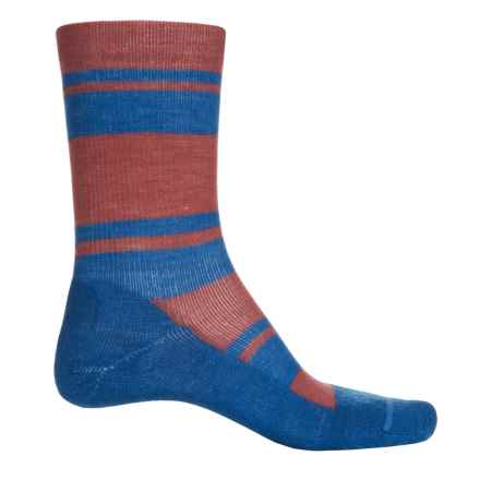 FITS Accessories Striped Light Hiker Socks - Merino Wool, Crew (For Men and Women) in Marsala/Classic Blue - Closeouts