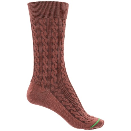 FITS Cable-Knit Socks - Merino Wool, Crew  (For Women) in Marsala