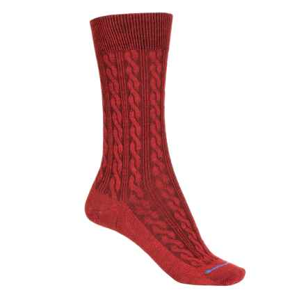FITS Cable-Knit Socks - Merino Wool, Crew  (For Women) in Red - 2nds