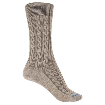 FITS Cable-Knit Socks - Merino Wool, Crew  (For Women) in Stone - 2nds
