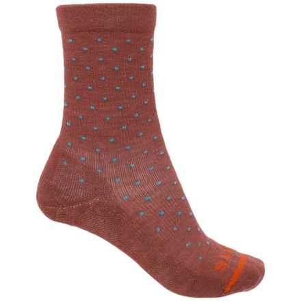 FITS Casual Polka-Dot Socks - Merino Wool, Crew (For Women) in Marsala / Scuba Blue - Closeouts