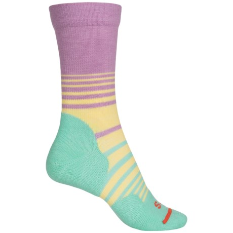 FITS Casual Socks - Merino Wool, Crew (For Women) in Lavender Herb/ Lucite Green