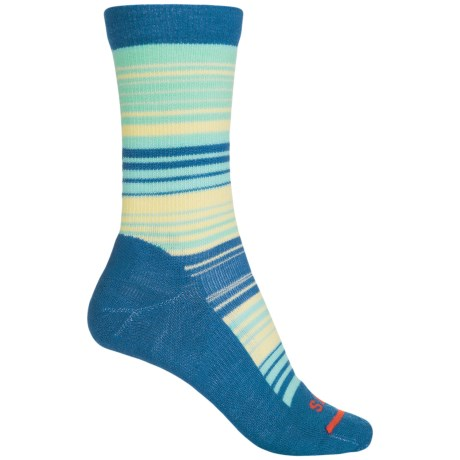 FITS Casual Striped Socks - Merino Wool, Crew (For Women) in Classic Blue