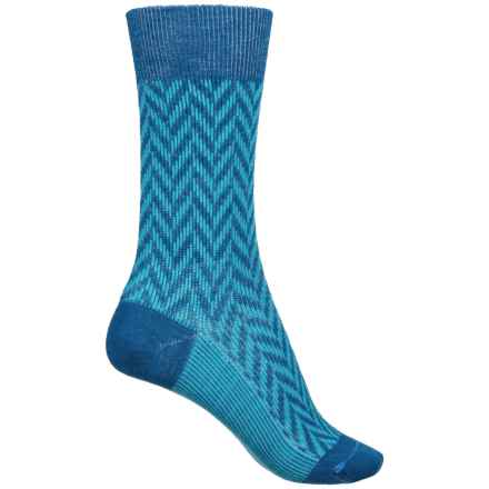 FITS Lifestyle Socks - Merino Wool, Crew (For Women) in Classic Blue / Scuba Blue - Closeouts