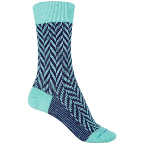 FITS Lifestyle Socks - Merino Wool, Crew (For Women) in Lucite Green/Eggplant