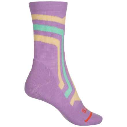 FITS Light Hiker Socks - Merino Wool, Crew (For Women) in Lavendar Herb/Custard - 2nds