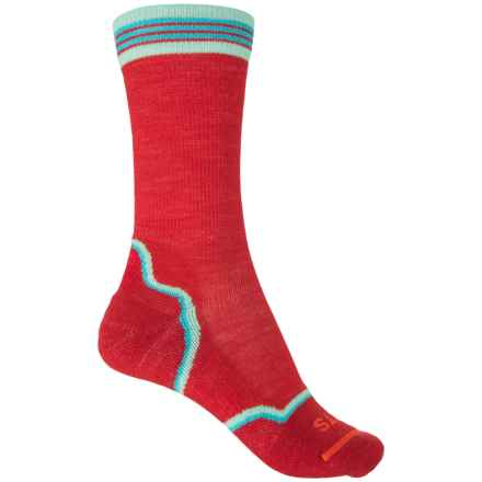 FITS Light Hiker Socks - Merino Wool, Crew (For Women) in Red/Scuba Blue - Overstock