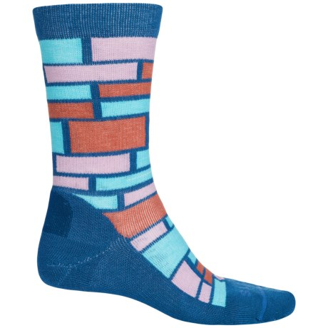 FITS Omega Performance Casual Socks - Merino Wool, Crew (For Men and Women) in Classic Blue / Marsala