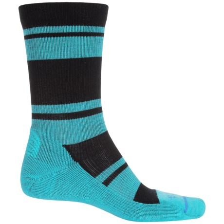 FITS Striped Light Hiker Socks - Merino Wool, Crew (For Men and Women) in Black/Scuba Blue