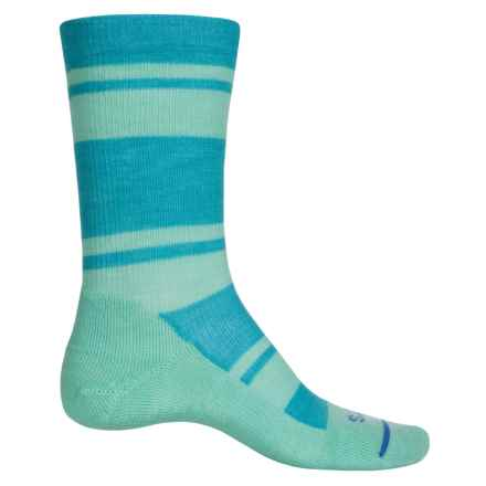 FITS Striped Light Hiker Socks - Merino Wool, Crew (For Men and Women) in Scuba Blue/Lucite Green - Closeouts