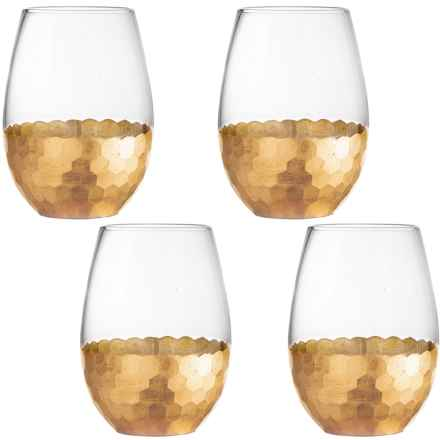 Fitz & Floyd Daphne Stemless Wine Glass Set - 20 fl.oz., Set of 4 in Gold - Overstock