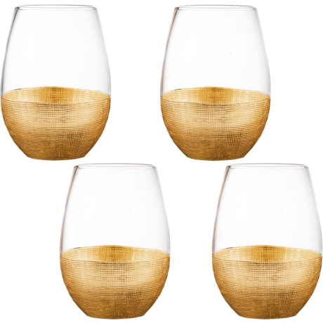 Fitz & Floyd Linen-Textured Stemless Wine Glass Set - 20 fl.oz., Set of 4 in Gold