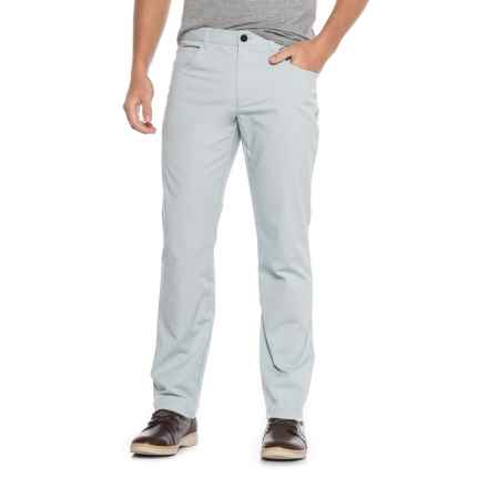 Five-Pocket Flat-Front Solid Stretch Pants (For Men) in Light Blue - Closeouts