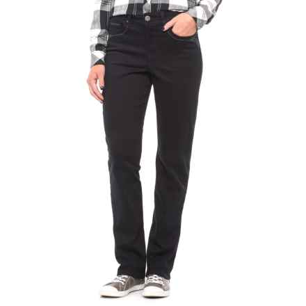 Five-Pocket Straight-Leg Jeans (For Women) in Black - 2nds