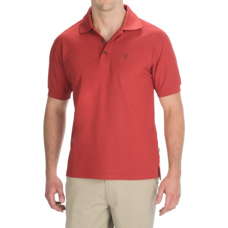 Fjallraven Crowley Pique Polo Shirt - Short Sleeve (For Men) in Neopn Red