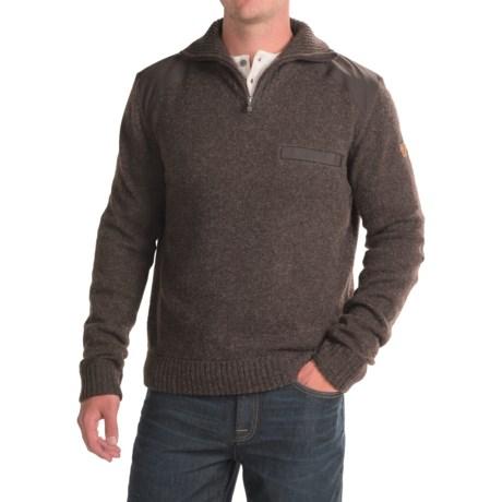 Fjallraven Koster Sweater - Zip Neck (For Men) in Black Brown