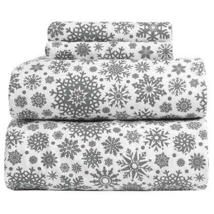 Flannel Comfort Blistery Snowflake Flannel Sheet Set - King in Grey - Overstock