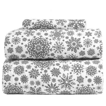 Flannel Comfort Blistery Snowflake Flannel Sheet Set - Twin in Grey - Overstock