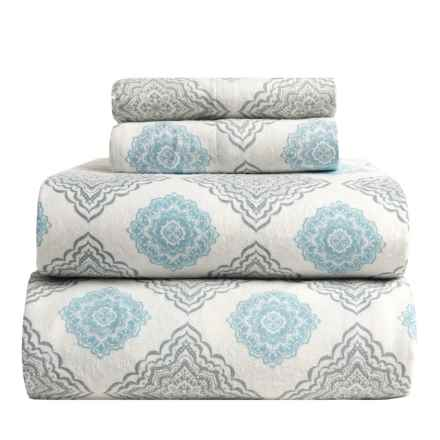 Flannel Comfort Mia Medallion Flannel Sheet Set - King in Blue - Overstock