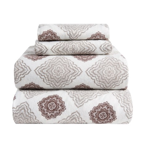 Flannel Comfort Mia Medallion Flannel Sheet Set - Queen in Taupe