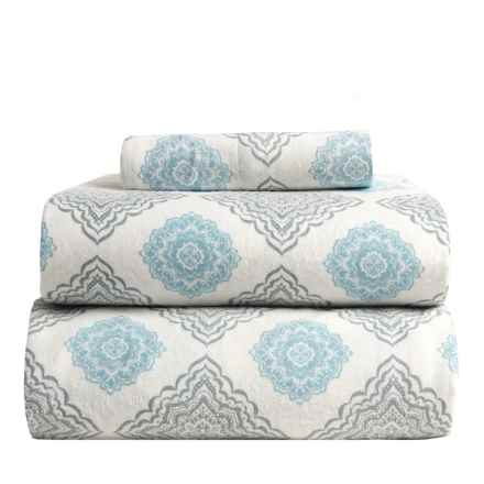 Flannel Comfort Mia Medallion Flannel Sheet Set - Twin in Blue - Overstock
