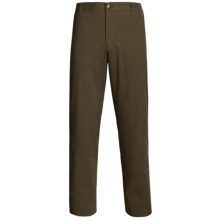 Flannel-Lined Twill Pants - Flat Front (For Men) in Dark Brown - 2nds