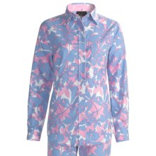 Flannel Loungewear Shirt - Long Sleeve (For Women) in Blue/Pink Catchin Z - 2nds