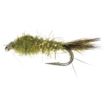 Flashback Gold Ribbed Hare's Ear Nymph Fly - Dozen in Olive - Closeouts